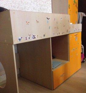 Кровать чердак+стелаж+ шкаф