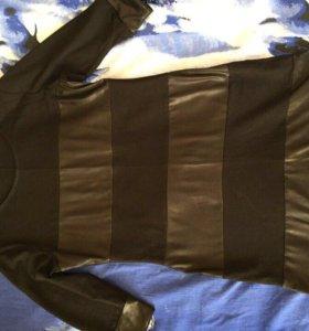 Платье чёрное с кожаными вставками