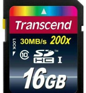 Карта памяти Transcend sdhc 16GB class 10 200x