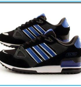 Кроссовки Adidas ZX 750 чёрные с синим