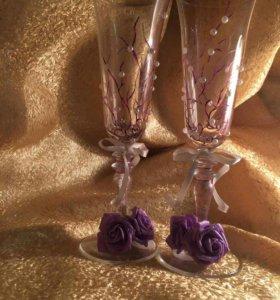 Фужеры для свадебного стола