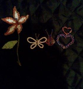 Божья коровка, цветок, кулон сердце и бабочка