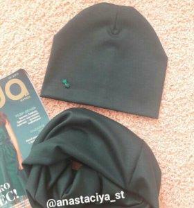 Комплект шапка снуд на окр 55 см