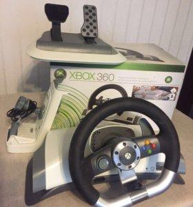 Xbox360, беспроводной руль с педалями, 2 джойстика