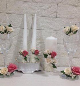 Свадебные фужеры и свечи
