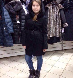 Пальто весна,осень, с капюшоном