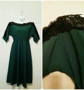 Платье миди зеленое