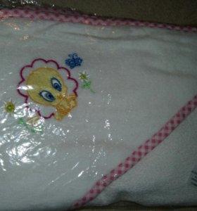 Махровое угловое полотенце для новорожденного