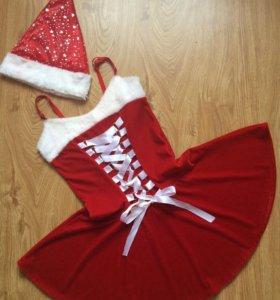 Новогодний наряд : платье+колпачек