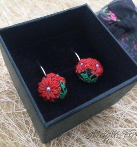 """Серьги """"Красные цветы""""🌺"""
