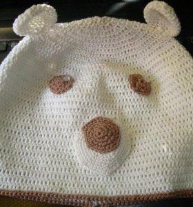 Вязанные шапки и шарфы с мордашками
