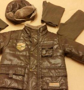 Комплект куртка, шапка,шлем,термобелье.