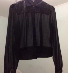 Черная шифоновая блузка с пайетками