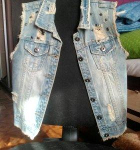 джинсовка без рукавов