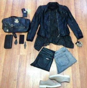 Платье,джинсы,блуза,кожаная юбка,пончо