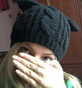 шапка кошка с ушками черная вязанная