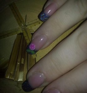 Наращивание ногтей на акрил, шеллак на дому