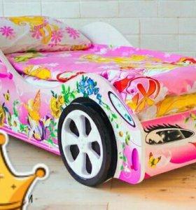 Кровать машинка Фея. Кроватка девочке.