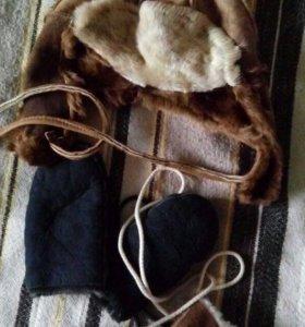 Шапка натуральный мех и две пары варежек Греция