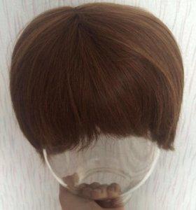 Парик женский, из натуральных волос каштан