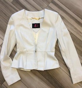 Куртка-жакет с баской кожаный by Gizia