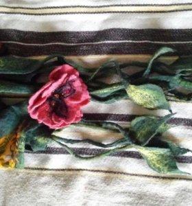 Шарф платок ручной работы валяние шерсть