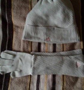 Шапка и перчатки адидас