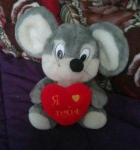 мягкая игрушка Мышка с сердцем 25 см.,немного б/ у