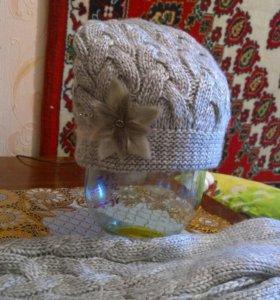 Шерстяная шапка и шарф