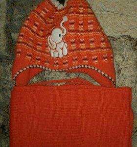 Шапочка с шарфом 3-4 года