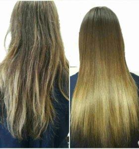 Наращивание и кератиновое выпрямление волос
