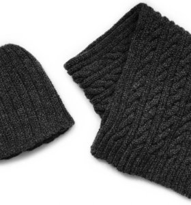 Комплект шапка + шарф, мужской