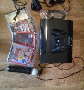 Playstation 3 super slim 500гб с играми и Ps Move
