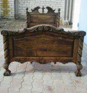 Кровать ручной работы из дерева ясень