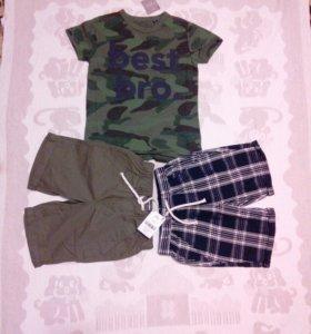 Новое! 2 шорт+ футболка Next, 5-6 лет
