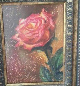 Картина Роза в раме,пастель,ручная работа