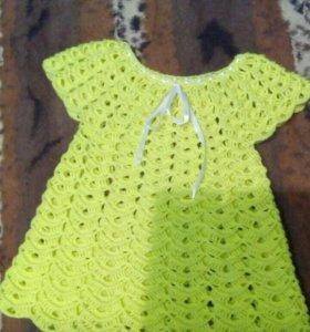 Очень милое детское платье, вязанная крючком