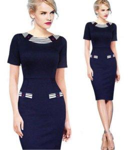 Тёмно-синее платье карандаш, 48 размер