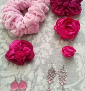 Набор бижутеии, розовый