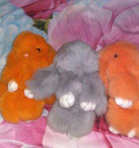 Брелки из натурального меха кролика