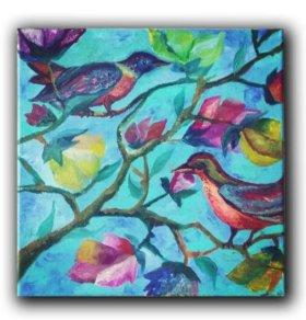 """""""Райские птички""""картина маслом в раме"""