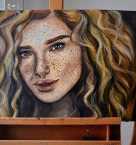 Картина девушки маслом