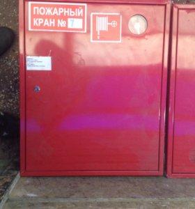 Пожарный шкаф, рукав, кран.