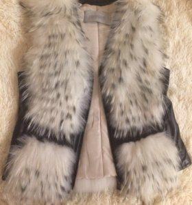 Меховая жилетка жилет натуральный мех енот торг