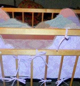 Бортики в стандартную кроватку, простынь на резинк
