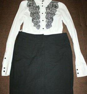 Блузки белая и юбка черная