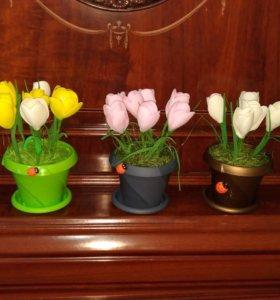 Цветы в горшочке