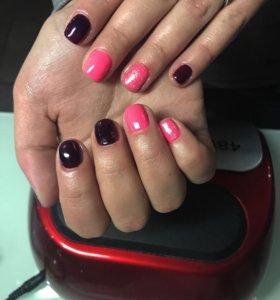 Шеллак маникюр розовый бордовый блестки