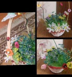 Композиция полевых цветов из бисера