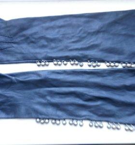 Перчатки длинные кожа
